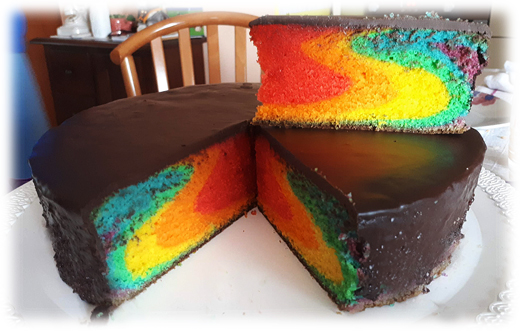 Rainbow cake all in one pan